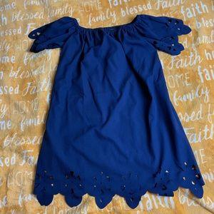Navy blue off the shoulder dress